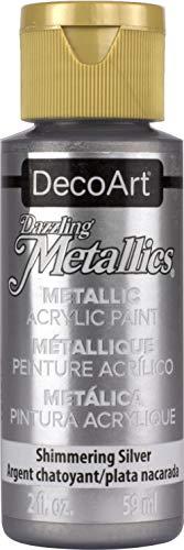 DecoArt Americana - Pintura acrílica metálica, Color Plateado Brillante