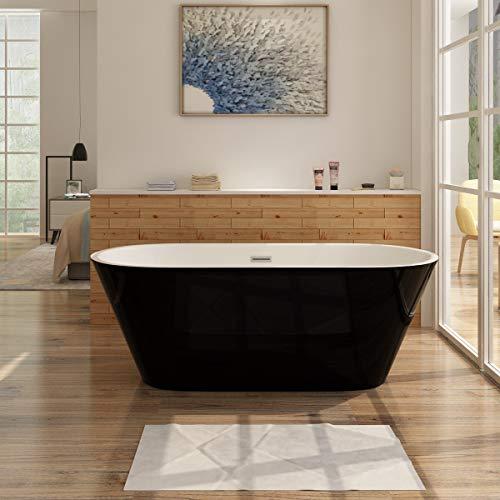 i-flair Freistehende Badewanne 160x80 cm LUGANO Design - aus Acryl in Schwarz - Weiß – verschiedene Größen