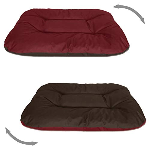 BedDog® 2in1 hondenmand REX dubbelzijdig ovaal hondenkussen, grote hondenbed, hondensofa, wasbaar, XXL rood/bruin