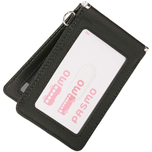 BLUE SINCERE レザーマイスターが創る 定期入れ 本革 メンズ パスケース 2枚 両面 バタフライ スキミング防止 薄型 カードケース / PC4(ロイヤルブラック)