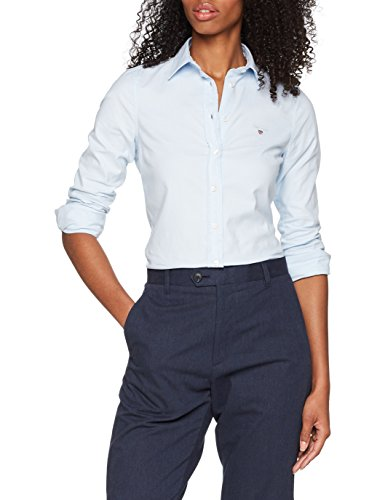 GANT Damen Stretch Oxford-Solid Shirt Bluse, Blau (Light Blue 455), 44