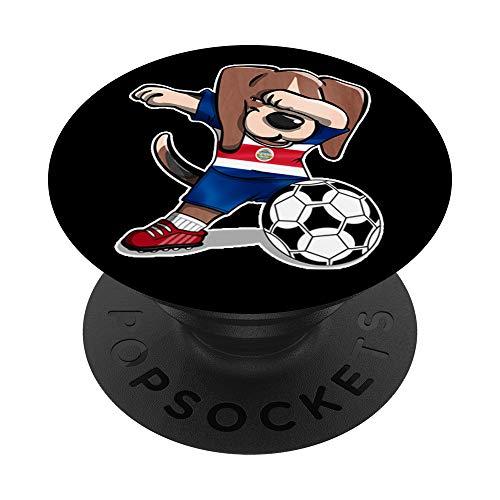 Dabbing Beagle Dog Costa Rica Fútbol - Bandera de Costa Rica PopSockets Agarre y Soporte para Teléfonos y Tabletas