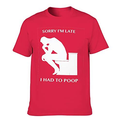 Camiseta de algodón para hombre, de marca genérica, con texto en inglés 'Sorry I Am Late I Didnt Want to Come divertida, de manga corta
