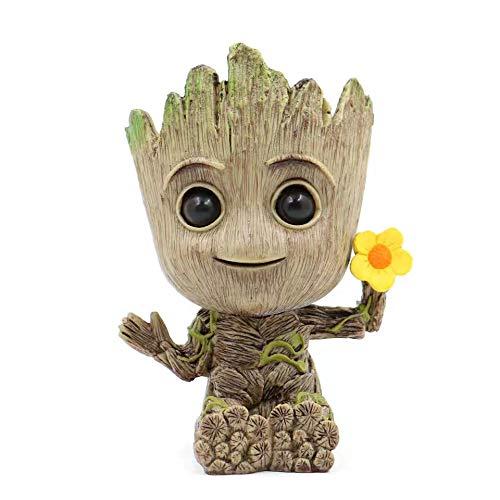 thematys® Baby Groot Maceta - Figura de acción para Plantas y bolígrafos de la película clásica - Perfecto como Regalo - Soy Groot (Flor)