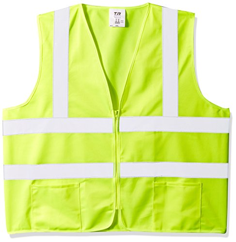 TR Industrial Neon Yellow Safety Vest, Front Zipper Knitted, OSHA Approved, Size XXL, Pack of 5