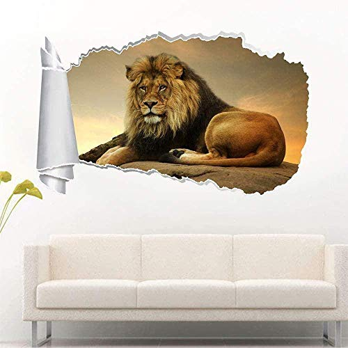 UYEDSR Pegatinas de Pared Lion Zoo Animal 3D Agujero Rasgado Etiqueta de la Pared Calcomanía Art Mural 50x70cm