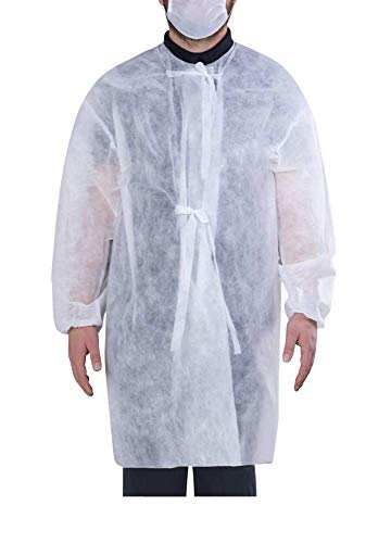 HV-100 Einwegkittel, OP-Schutzkittel, Besucherkittel aus 40g PP Vlies mit Ärmel, zum Binden, PE-Sprühbeschichtung, Atmungsaktiv, Feuchtigkeitsdicht, ISO zertifiziert (50)