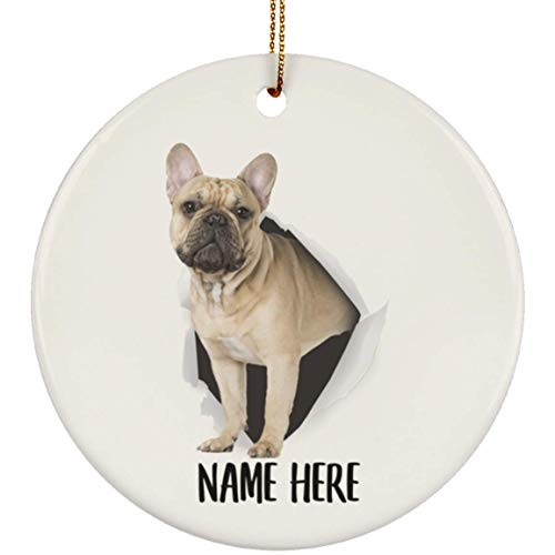 Lovesout Cute French Bulldog Gold Fawn Personalized Name Christmas Tree Ornament Ceramic Circle