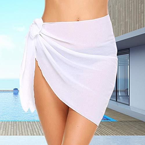 Ishine Playa Wrap Falda Bikini Overol Envoltura de Encaje Mujeres Vestido de Sarong Blanco de Gasa Playa Tie Wrap Falda Sexy Bikini Transparente Bufanda Traje de Baño