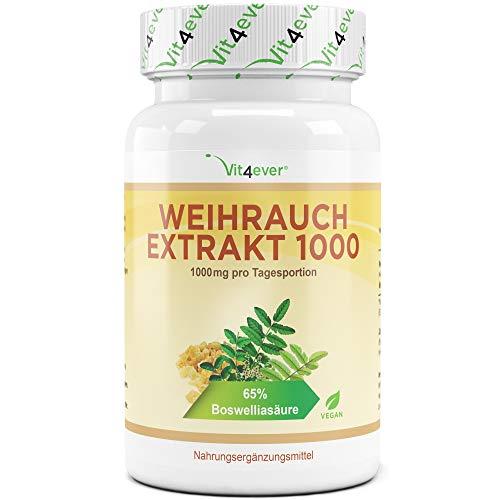 Weihrauch Extrakt 500 mg - 130 Kapseln - Hochdosiert mit 1000 mg je Tagesdosis - 65% Boswellia-Säure - Echtes indisches Boswellia Serrata - Laborgeprüft - Vegan - Premium Qualität