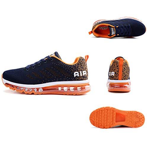 Air Zapatillas de Running para Hombre Mujer Zapatos para Correr y Asfalto Aire Libre y Deportes Calzado Unisexo Blue Orange 42