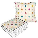 Patrón sin costuras retro color flores y puntos vector imagen doble propósito almohada edredón franela almohada manta para invierno cálido