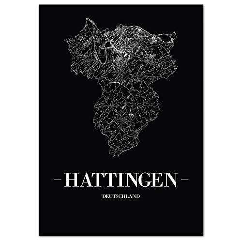 JUNIWORDS Stadtposter - Wähle Deine Stadt - Hattingen - 21 x 30 cm Poster - Schrift A - Schwarz