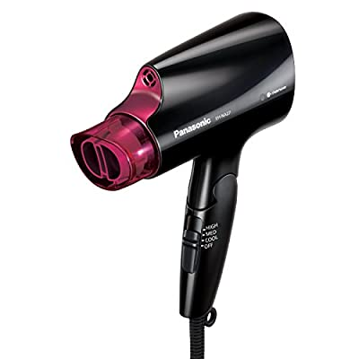 Panasonic Compact Hair Dryer with Nanoe Technology for Smoother, Shinier Hair, Includes Quick-Dry Nozzle and Folding Handle for Travel, Black, Pink EH-NA27-K