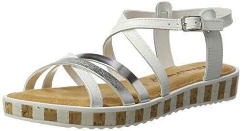Tamaris Damen 28224 Offene Sandalen mit Keilabsatz, Weiß (White/Silver 191), 39 EU