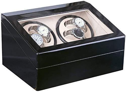 YUYANDE RADIADOR DE RELAJE AUTOMÁTICO, 4 + 6 Reloj automático Winder Storage Mostrar Caja de Reloj, Reloj Almohadas Relojes mecánicos automáticos Caja de Almacenamiento Negro