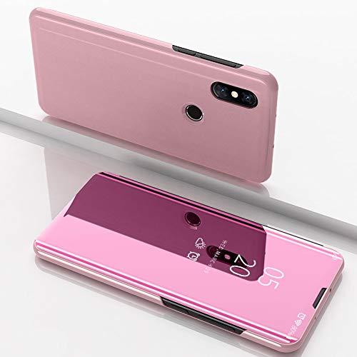 Funda® Espejo Enchapado Flip Funda para Xiaomi Mi Mix 3 (Oro Rosa)