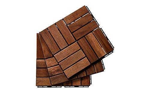 "BEEFURNI 12"" x 12"" Square Acacia Hardwood Interlocking Flooring Wood Tiles Patio Deck Paver Checker Pattern Easy Install Indoor Outdoor Decking Anti Slip Floor Tile, Pack of 10, Dark Brown"