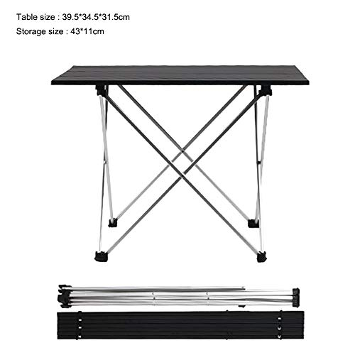 VSTAR66 zusammenklappbarer Grilltisch, leicht, tragbar, Aluminium, vielseitiger Picknicktisch für Strand, Reisen, Hinterhof, Party. S Schwarz