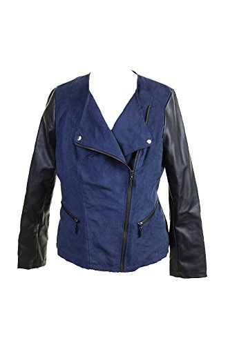 Alfani Suede Faux-Leather Women's Medium Motorcycle Jacket Blue M