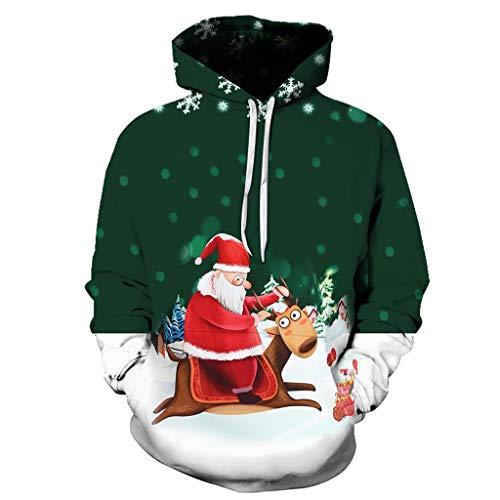 Aoogo Männer Weihnachtskostüm,Weihnachtsbaum Pullover Rentier Mit Kapuze Elch Weihnachten Kapuzenpullover Taschen Kordelzug Langarmshirt