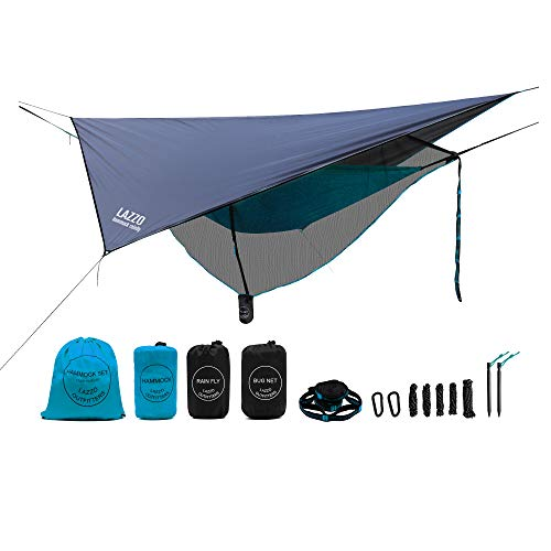 LAZZO Camping Hammock Set All-Inclusive,Single Hammock, Net,Tarp,Suspension,Guyline,Stakes and Backpack,Perfect for Backpacking,Camping,Hiking & Yard (Blue, 9.2)