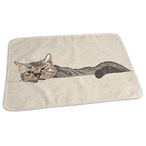 Voxpkrs Baby Wickelunterlage Lazy Sleepy Cat Print Windel Wickelauflage Matten für Jungen Mädchen, 25,5