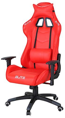 ELITE Racing Gaming Stuhl MG-200 - Bürostuhl – Kunstleder - Ergonomisch - Racer – Drehstuhl – Chair – Chefsessel – Schreibtischstuhl (Rot)