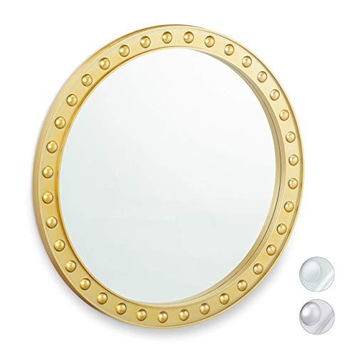 Relaxdays Wandspiegel rund, moderner Deko-Spiegel zum Aufhängen, Flur, Wohnzimmer, Bad & WC, ∅ 50,5 cm, mit Rahmen, gold