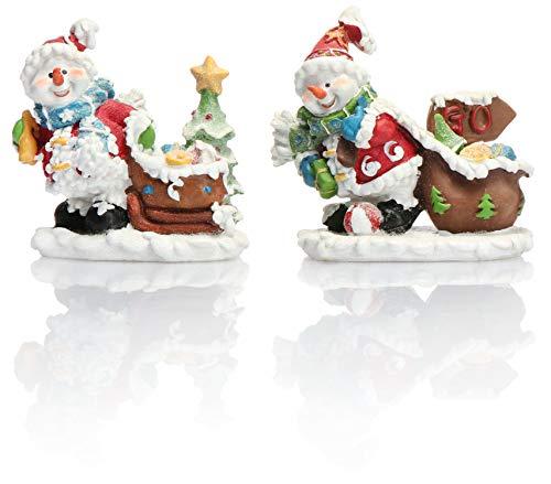 COM-FOUR® 2x sneeuwpopfiguren in kerstman-kostuum, gemaakt van polyresin en versierd met glitter, in verschillende versies [selectie varieert!] (02 stuks - Snowman Mix 1)