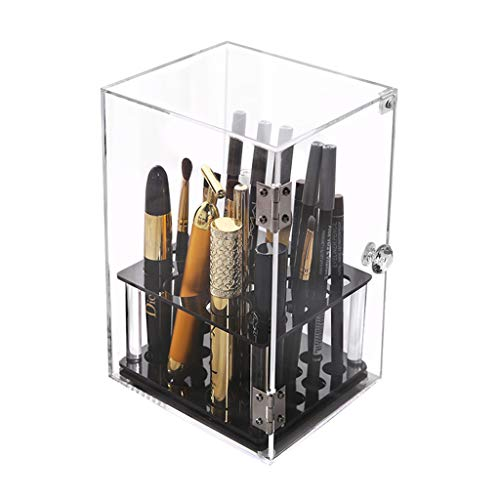 Boîte de rangement cosmétique Boîte de Rangement de boîte de Rangement de Support de Table en Acrylique résistant à la poussière (Color : Black, Size : 14.5 * 11.5 * 19.5cm)
