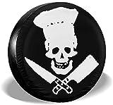 Kejbr Couverture de Pneu, Skull-Chef Cooking Skull Classic Housse de Roue de Secours for Jeep SUV RVs Universal Fit 14-17 in