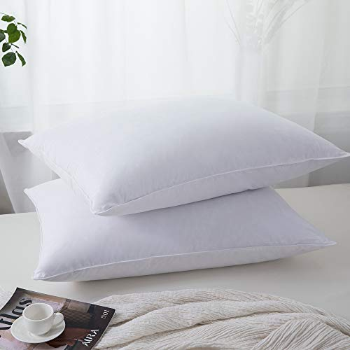 puredown Feather Down Pillows Soft Bed Pillows with 100% Natural Cotton Cover Down Fiber Pillows Set of 2 Standard/Quee Size