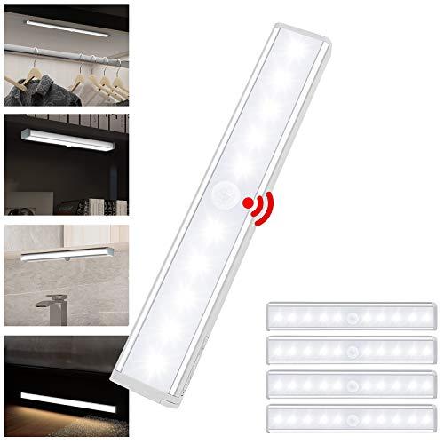 Asina 5 piezas Luz Armario Inalámbrica de Aluminio con Sensor de Movimiento Luces Nocturna de Mano con Tiras Magnéticas Blanco Frío Lámparapara Habitación de Niños Escaleras Pasillo Camping