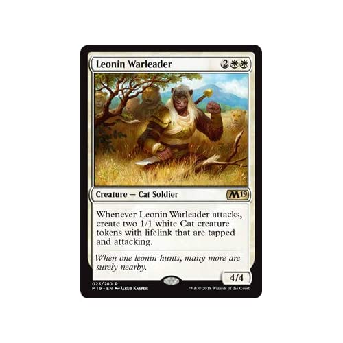 Magic The Gathering - Leonin Warleader - Condottiero Leonid - Core Set 2019