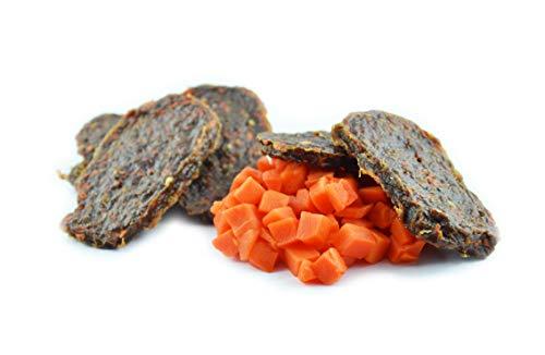 Maced hondensnack runderfilet met wortel 100G, de wortel voorziet in essentiële vitaminen A, B1, B2, B3, B6, C, E, H, K en mineralen hondendeleckerli pak van 10 (10 x 100 g)