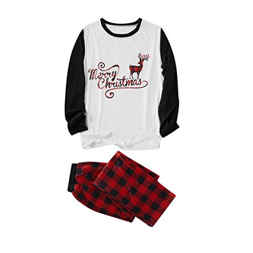 SETSAIL Herren Weihnachtspyjamas eingestellt Brief drucken Top T-Shirt und Plaid Print Hosen Home Service Set Warm und bequem Festliches Kostüm Geeignet für Indoor- und Outdoor-Aktivitäten