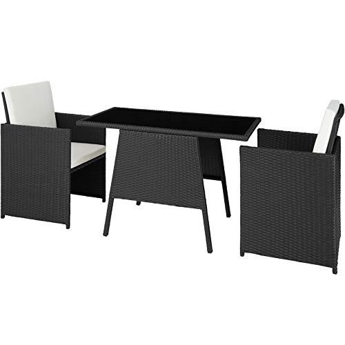 TecTake 800682 Polyrattan Sitzgruppe für 2 Personen, zusammenschiebbar, 2 Stühle & 1 Tisch mit Glasplatte, inkl. Sitz- und Rückenkissen – Diverse Farben – (Schwarz | Nr. 403096)