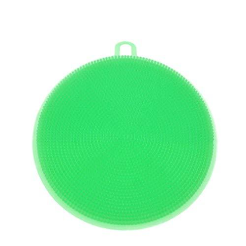 Herramienta para la limpieza del cepillo para el lavado de platos de forma redonda de silicona alimentaria multifunción (verde)