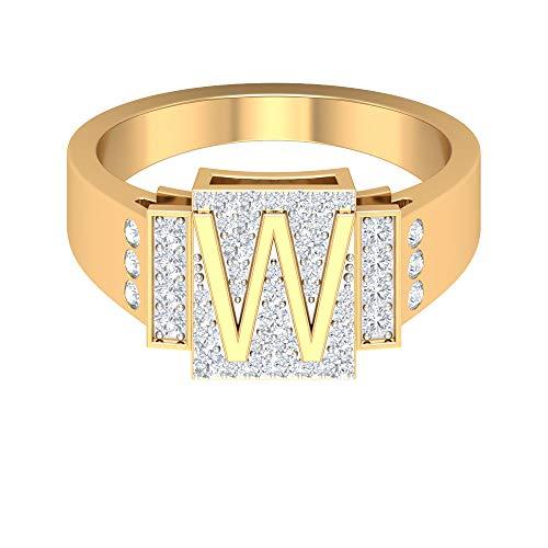 Anillo de compromiso único, anillo inicial personalizado, anillo de alfabeto W, anillo de diamante HI-SI 1/2 CT, anillo de boda, anillo de carta, regalo para esposa, 14K Oro amarillo, Size:EU 61