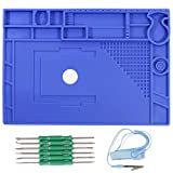 YIHUA M180 Premium Large Insulated Silicone Work Pad/Mat 932℉, with Mag. Divisions for Soldering & Electronics Repair, come with Anti-Static Wrist &6pcs Soldering Aid Kit, Size 17.32x12.20 Inches-blue