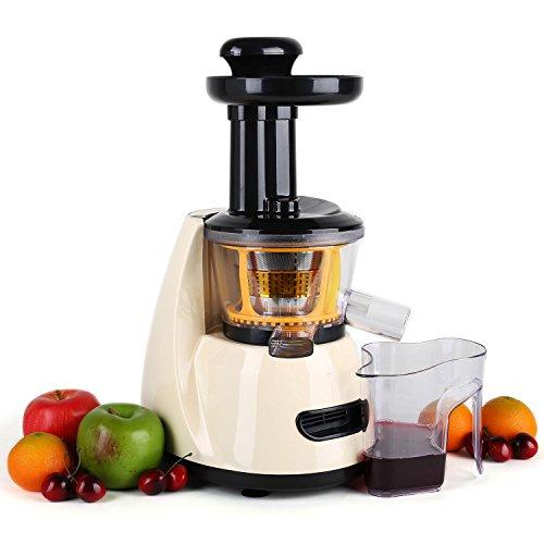 Klarstein Fruitpresso - Entsafter, vertikale Saftpresse, Edelstahl-Mikrosieb, Slow Juicer, 150 Watt, 70 U min, Schneckenpresswerk, Vor-und Rücklauf, 2 Auffangbehälter, creme