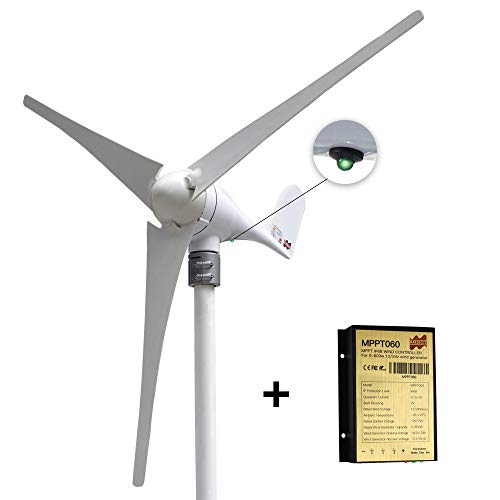 Marsrock Small Wind Turbine Generator AC 12Volt 400W Economy Windmill with MPPT Controller for Wind Solar Hybrid System 2m/s Start Wind Speed 3 Blades (400Watt 12Volt)