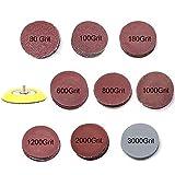 Goodchanceuk Lot de 90disques de polissage en papier 7,6cm Grains 80 100 180 600 800 1000 1200 2000 3000 avec envers à flocage plaque Jaune
