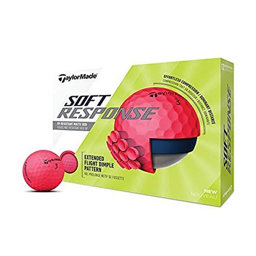 TaylorMade Soft Response Golf Ball, Red, Dozen ,Large