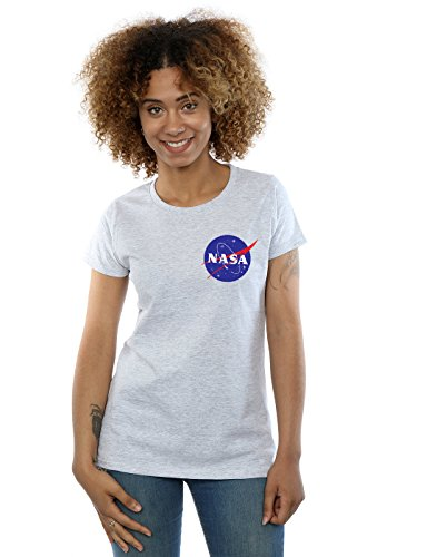 Nasa Mujer Classic Insignia Pocket Logo Camiseta Medium Gris Sport