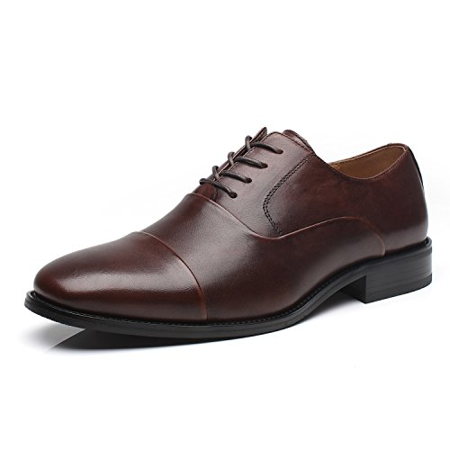 La Milano Mens Leather Cap Toe Oxfords Lace Up Classic Formal Business Casual Dress Shoes