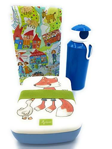Sigikid Brotdose Bambus Fuchs Mepal Trinkflasche blau Lunchbox Kiga Geschenkset
