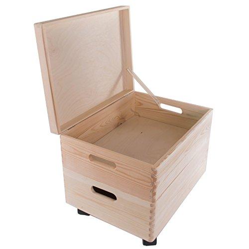 Search Box Lot de Deux Medium en Bois Boîtes de Rangement empilable avec poignées et Wheels-40 X 30 x 31 cm