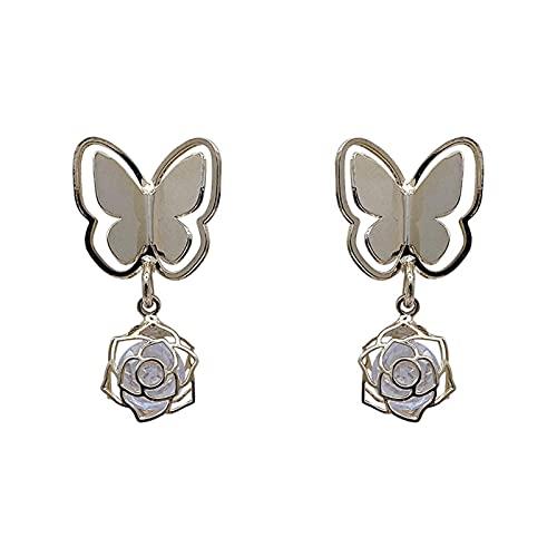 XIALIMY Pendientes para Joyería Corea del Sur Dongdaemun Butterfly A Pendientes de Rhinestone (Metal Color : Earrings)